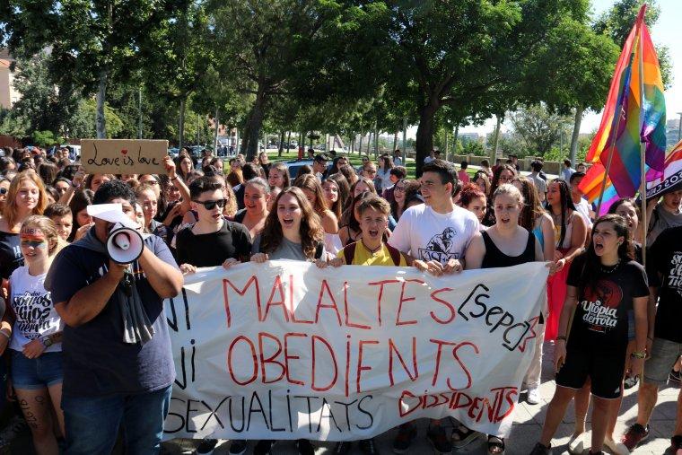 Imatge d'alumnes que s'han manifestat davant del Gili Gaya amb pancartes