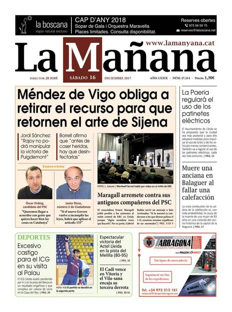 La Manyana, dia 16 de desembre