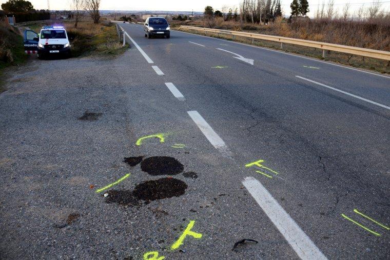 Punt exacte on ha mort el motorista a la L-702 a Artesa de Lleida.