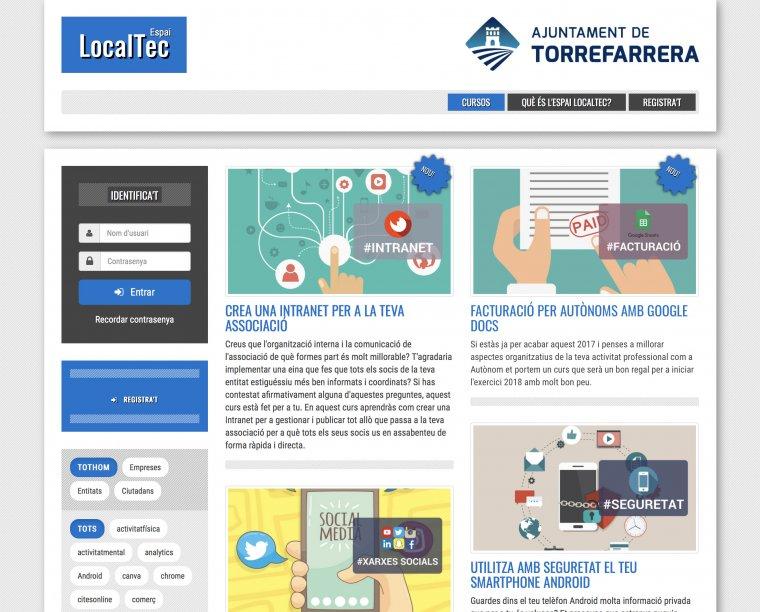 Captura de pantalla de la plataforma digital FormaFarrera.cat, posada en marxa per l'Ajuntament de Torrefarrera