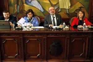 El president de la Diputació de Lleida, Joan Reñé, acompanyat pels vicepresidents Sabarich, Perelló i Pujol