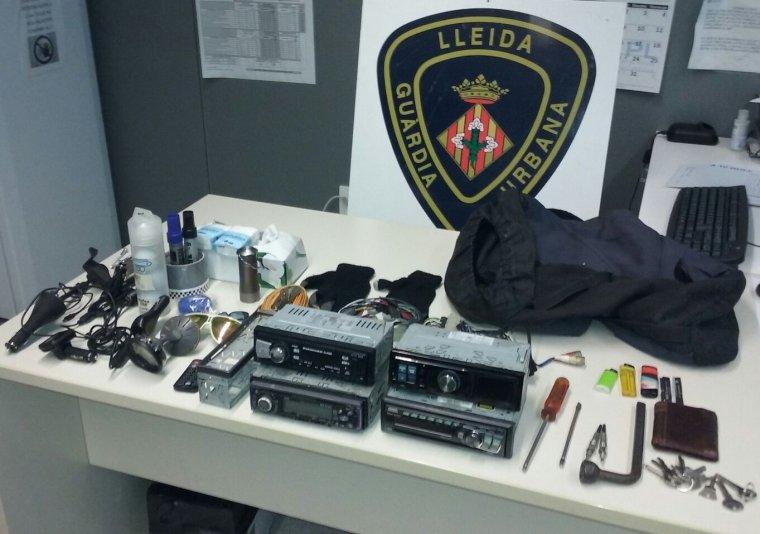 Articles robats requisats per la Guàrdia Urbana de Lleida.