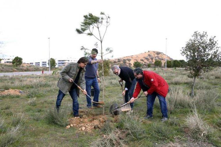 Imatge general de quatre homes, entre els quals el tinent d'alcalde Fèlix Larrosa (amb jersei negre), plantant un arbre al nou bosc urbà del turó de Gardeny