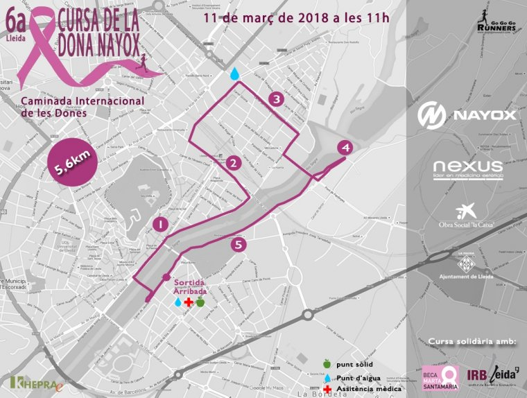 Itinerari de la Cursa de la Dona de Lleida 2018.