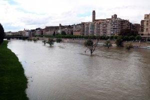 Imatge general del riu Segre al seu pas per Lleida, cobrint bona part de la canalització
