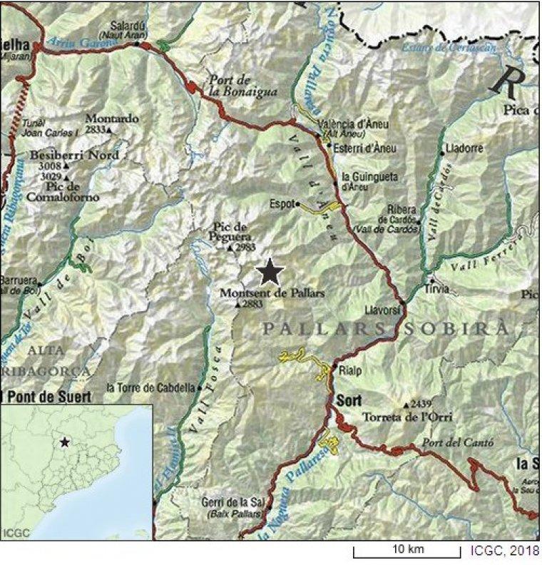 Epicentre del terratrèmol de 2,9 graus a l'escala de Richter