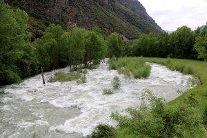 Imatge del riu Noguera Pallaresa aigua avall del pantà de la Torrassa, a la Guingueta d'Àneu