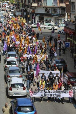 Imatge des de dalt de la manifestació de l'1 de maig a Lleida.