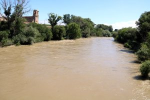 Pla general del riu Segre, just abans de confluir amb el Cinca a la Granja d'Escarp