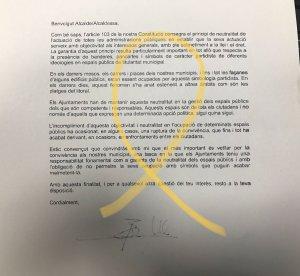 Primer pla de la carta enviada pel delegat del govern espanyol a Catalunya, Enric Millo, a l'alcalde de Sort