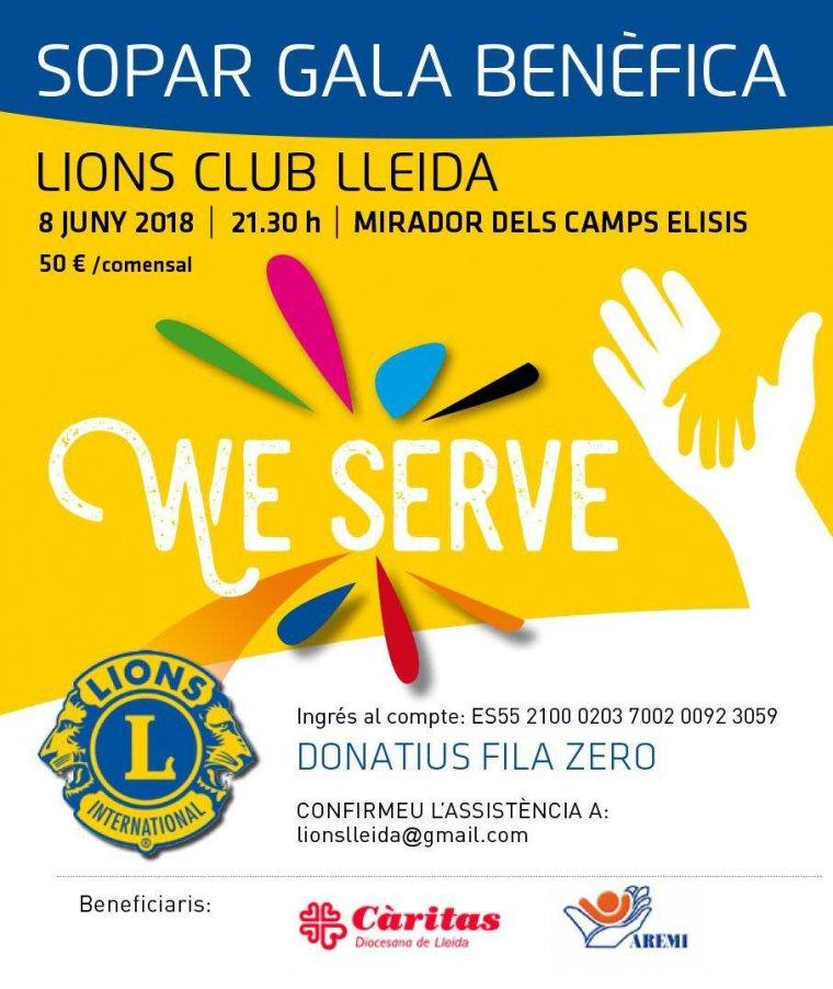 Cartell de la gala benèfica que organitza Lions Club Lleida.