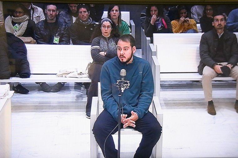 Imatge de pantalla del raper PAblo Hasel, aquest 01/02/2018 al judici de l'Audiència Nacional