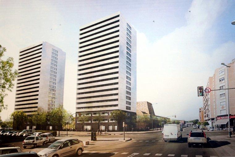 Recreació virtual de les dues torres que es construiran al solar annex a la Llotja de Lleida