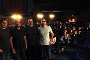 Daniel Agudo, professor de l'Escola Superior de Cinema i Audiovisuals de Catalunya, amb responsables del Galacticat
