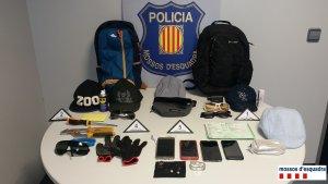 Imatge dels objectes recuperats en els dos robatoris.