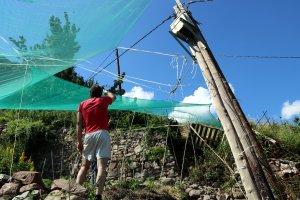 Un veí del poble de Mencui, al Pallars Sobirà, mostrant el pal de la llum tort a causa dels moviments del terreny
