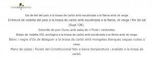 Imatge de la carta del restaurant de la Nova Font Blanca de Balaguer
