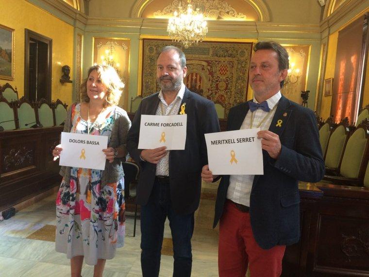 Imatge dels regidors d'ERC amb els seus vots