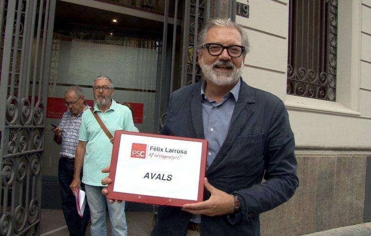 Pla mig del primer secretari del PSC de Lleida ciutat, Fèlix Larrosa, abans de presentar els avals