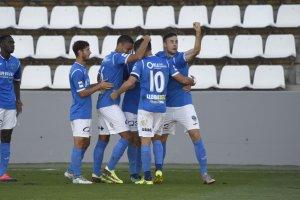 Imatge de la celebració del gol del Lleida Esportiu