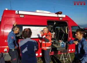 Imatge de l'operatiu de recerca del boletaire perdut en una zona boscosa del municipi de Fígols i Alinyà