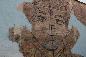 Imatge del mural de l'artista Bastian, d'Oviedo, en una paret del municipi de Torrefarrera dins l'Street Art Festival