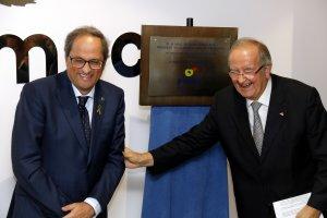 Pla mig del president de la Generalitat, Quim Torra, amb el president de Pimec Catalunya, Josep Gonzàlez
