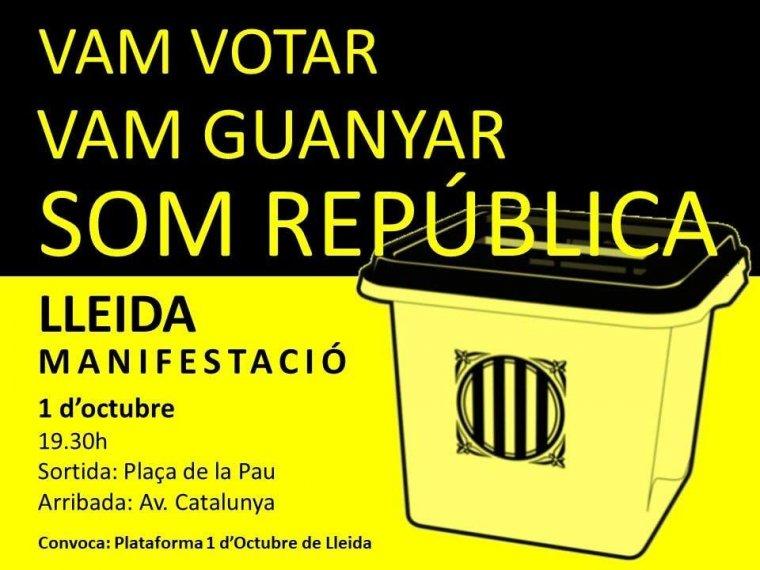 Cartell de la manifestació d'aquest dilluns, dia 1 d'octubre, a Lleida ciutat.