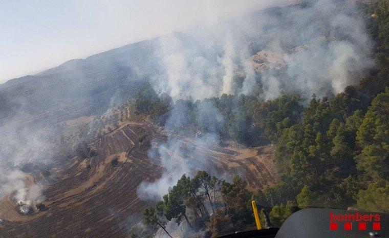 Imatge cedida pels Bombers d'un foc agrícola i forestal a l'Urgell