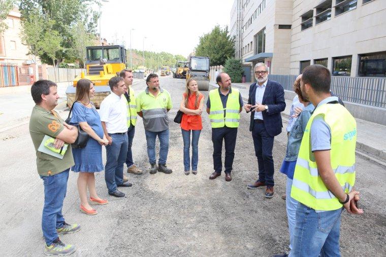 L'alcalde de Lleida en el lloc de les obres