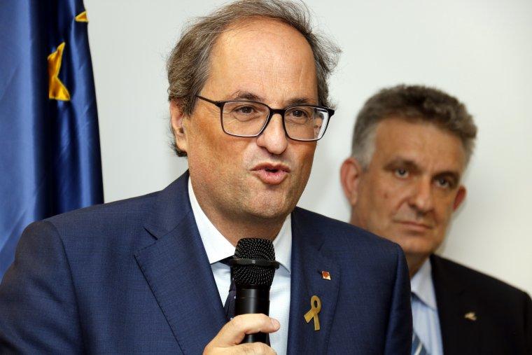 Pla curt del president de la Generalitat, Quim Torra, a Pimec Lleida