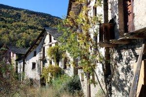 Vista general de les cases del poble d'Àrreu, al Pallars Sobirà