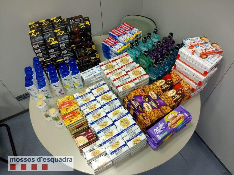 Imatge dels productes recuperats pels Mossos d'Esquadra