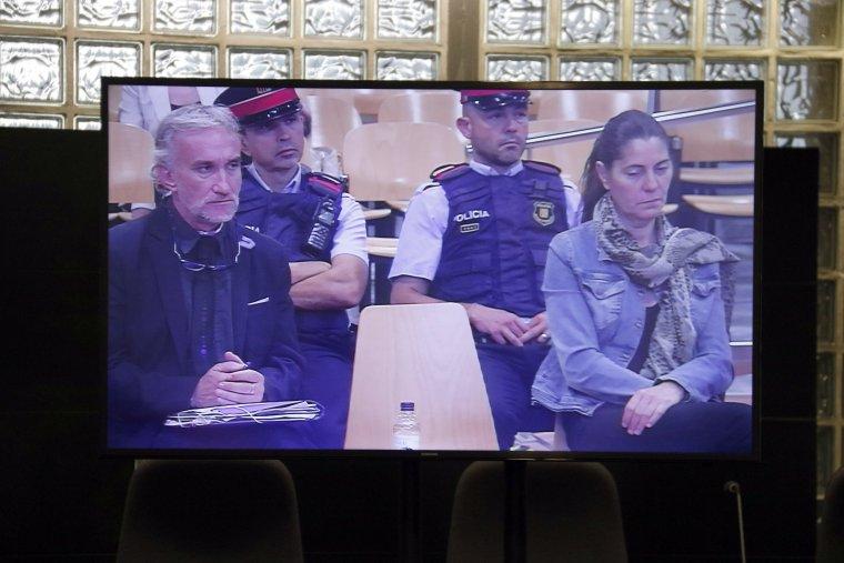 Pantalla de la sala de premsa habilitada als jutjats de Lleida per seguir el 'cas Nadia'