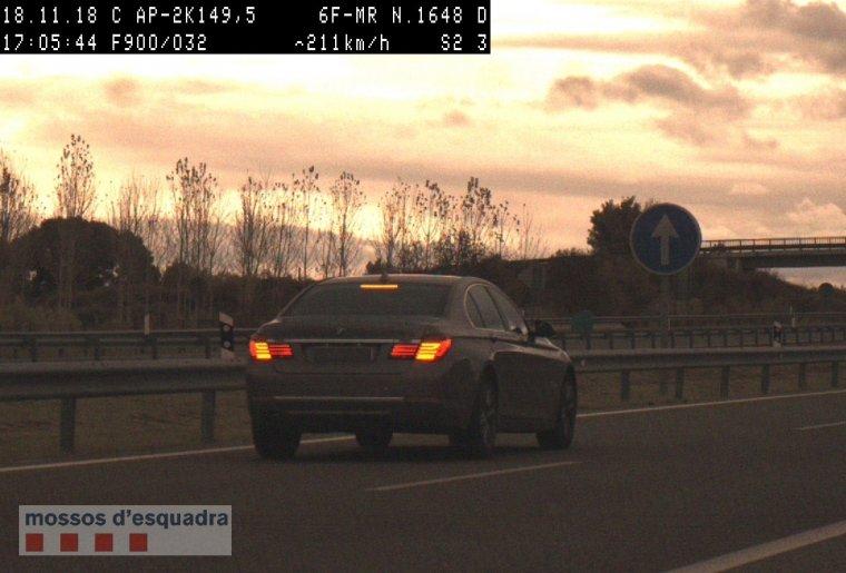 El vehicle enxampat circulant a 211 km/h per l'AP-2 a Puigverd de Lleida