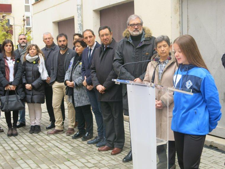 Moment de la lectura d'un l'acte a Lleida