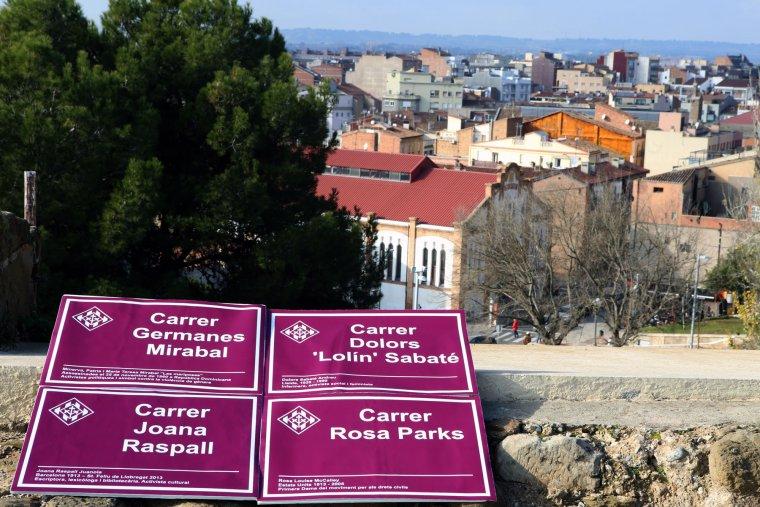 Imatges de les plaques dels nous carrers de Lleida
