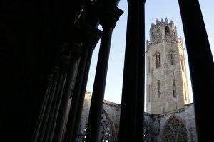 El campanar de la Seu Vella de Lleida, vist des del claustre