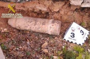 Imatge del projectil d'artilleria trobat a l'Albagès