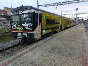 Tren pintat completament pels grafiters a l'estació de Cervera