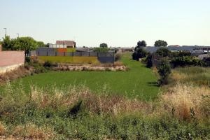 Pla obert on es poden veure els terrenys on s'ha de construir el nou institut de Mollerussa, de forma contigua a l'escola bressol El Niu