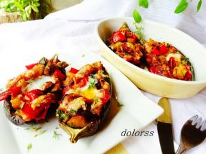 Albergínies farcides de verdures amb ou de guatlla de la Dolors Mateu