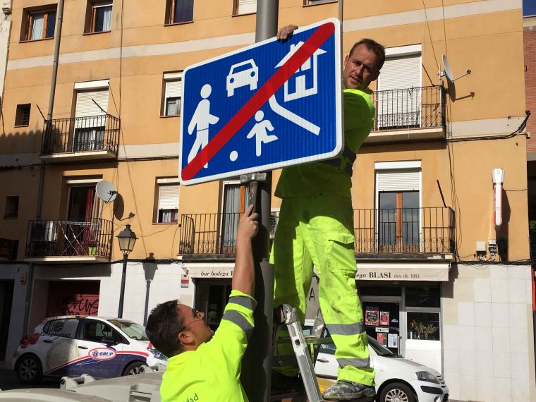 Tasques de senyalització al Centre Històric de Lleida