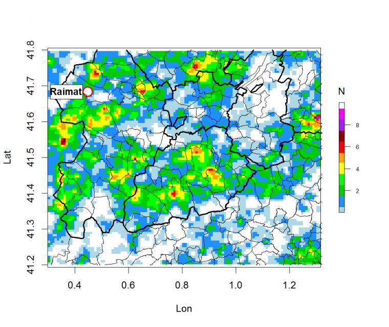 Distribució de l'estimació de pedra al Pla de Lleida