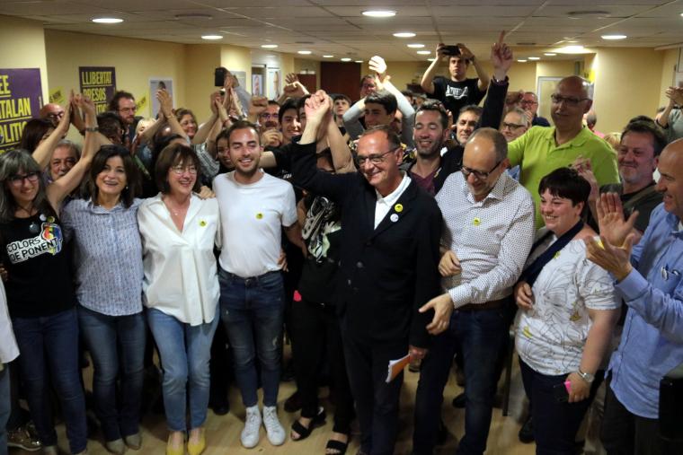 Eufòria a la seu d'ERC a Lleida.
