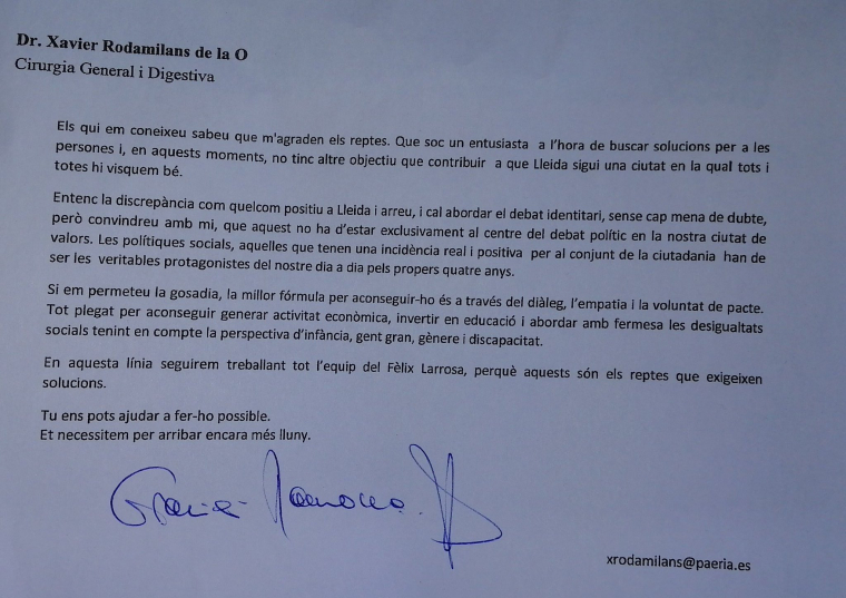 Imatge de la carta enviada per Rodamilans
