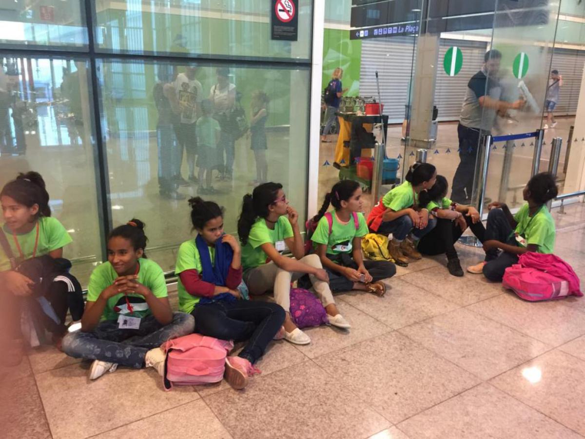 Alguns dels infants sahrauís que arriben a Catalunya