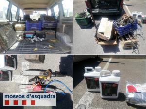 El material suposadament robat en un magatzem agrícola de l'Horta de Lleida