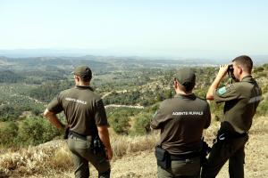 Els Agents Rurals controlen la trajectòria del foc de l'Ebre des d'un punt elevat de la Granadella