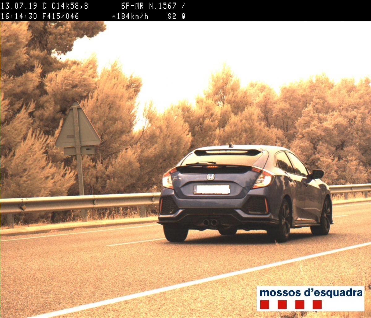 Fotografia captada pel radar dels Mossos d'Esquadra